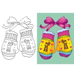 Coloring book of christmas mittens vector