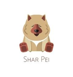 Shar Pei Funny cartoon character vector image