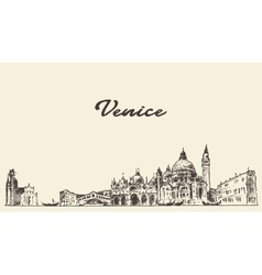 Venice skyline drawn sketch vector