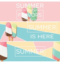 Three modern typographic summer poster designs vector