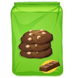 Bag of chocolate cookies vector image vector image