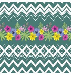 Beautiful flower seamless pattern with zigzag vector