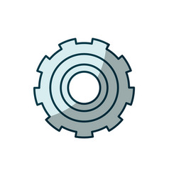 Blue shading silhouette of gear of wheel vector