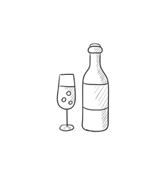 Bottle and glass of champagne sketch icon vector image vector image