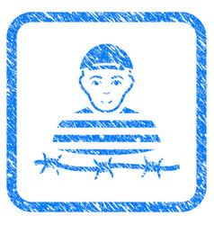 Camp prisoner framed stamp vector