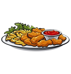 Chicken fried nuggets vector