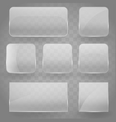 collection of transparent reflecting square glass vector image
