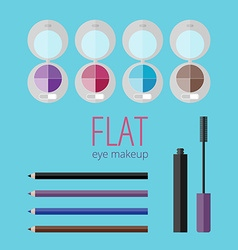 Flat eye makeup set vector