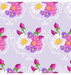 Floral background with white and pink daisy vector image vector image