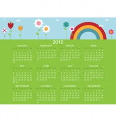floral calender for 2010 vector image