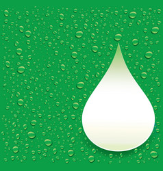 Green background with fresh water droplets vector