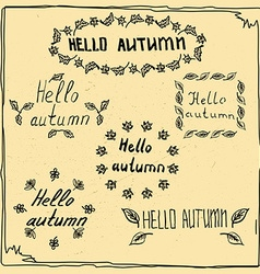 hello autumn badge sketch vector image vector image