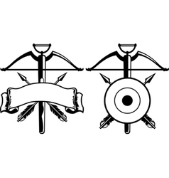 Insignia with crossbow vector image vector image