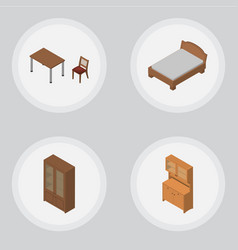 Isometric furniture set of cupboard bedstead vector