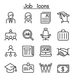 Job employment icon set in thin line style vector