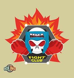 Mixed Martial Arts Labels Skull boxing helmet MMA vector image