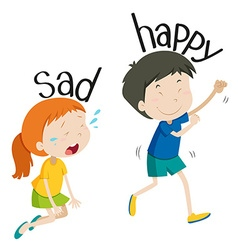 Opposite adjective sad and happy vector image vector image