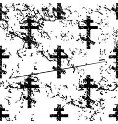 Orthodox cross pattern grunge monochrome vector