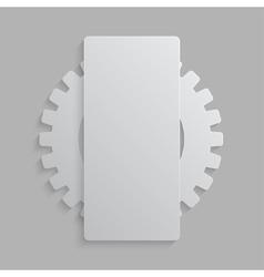 Paper banner mockup cogwheel gear icon vector