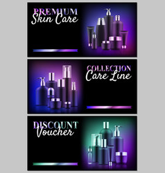 Premium beauty voucher set vector
