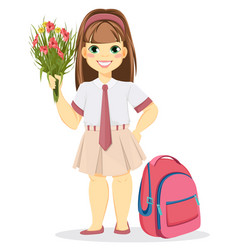 Schoolgirl with backpack and bouquet of flowers vector