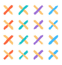 Set color cross brushstroke paint vector