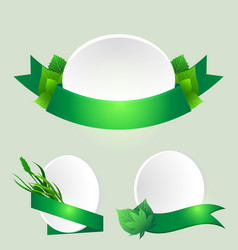 set of green ribbons with leaves element for vector image