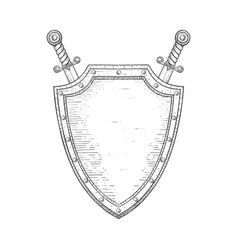 shield with swords hand drawn sketch vector image