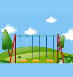 swings in the green park vector image