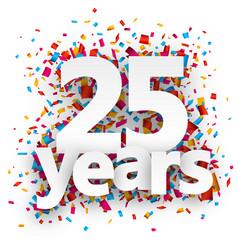 Twenty five years paper confetti sign vector image vector image