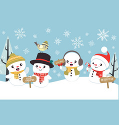 winter christmas scene with cute little snowman vector image vector image
