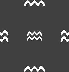 Aquarius sign seamless pattern on a gray vector