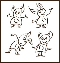 Rank funny little monsters in different poses vector