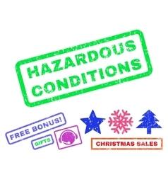 Hazardous conditions rubber stamp vector