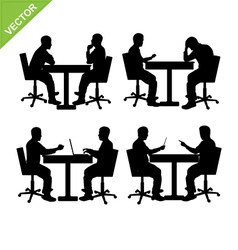 Business man meeting silhouette vector