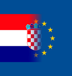 Croatia national flag with a circle of eu vector