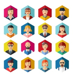 Flat avatar icons faces people symbols signs vector image
