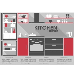 Kitchen interior flat design with long shadows vector