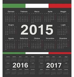Black Italian circle calendars 2015 2016 2017 vector image