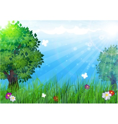 Trees in the meadow vector