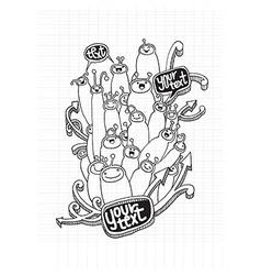 Set of doodle cute funny cartoon monsters vector