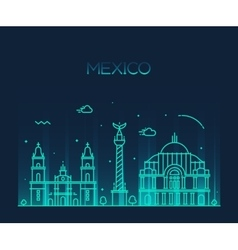 Mexico city skyline trendy line art style vector