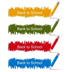 Set of colored banners with pencils vector