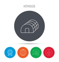 Greenhouse complex icon hothouse building sign vector