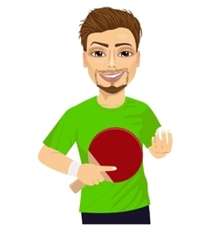 Man holding table tennis racket and ball vector