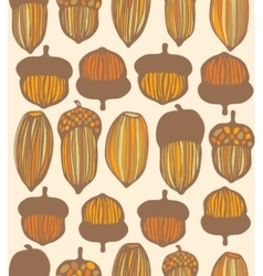 Seamless colored acorn background vector