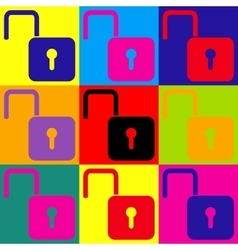 Unlock sign pop-art style icons set vector