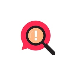 Red bubble speech with magnifying glass logo vector