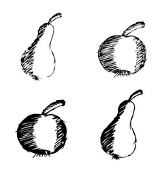 Apple and pear hand drawn doodle icons eps10 vector