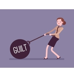 Businesswoman dragging a weight guilt on chain vector
